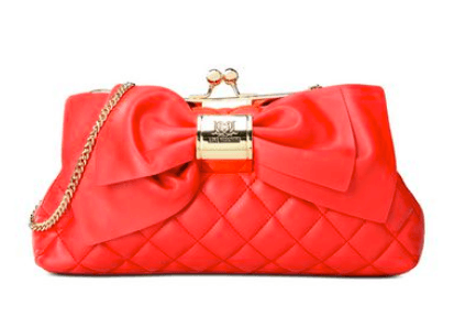 love moschino quilted faux leather clutch red gold