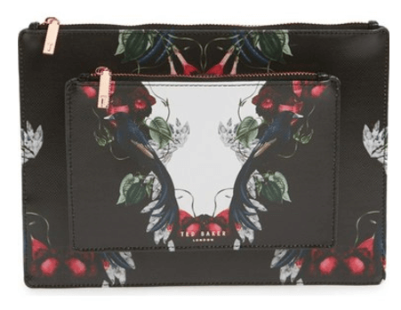 ted baker london bejewelled shadows fawnn printed leather pouch