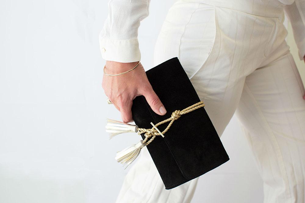marni black kohl suede braided leather clutch nikki williams