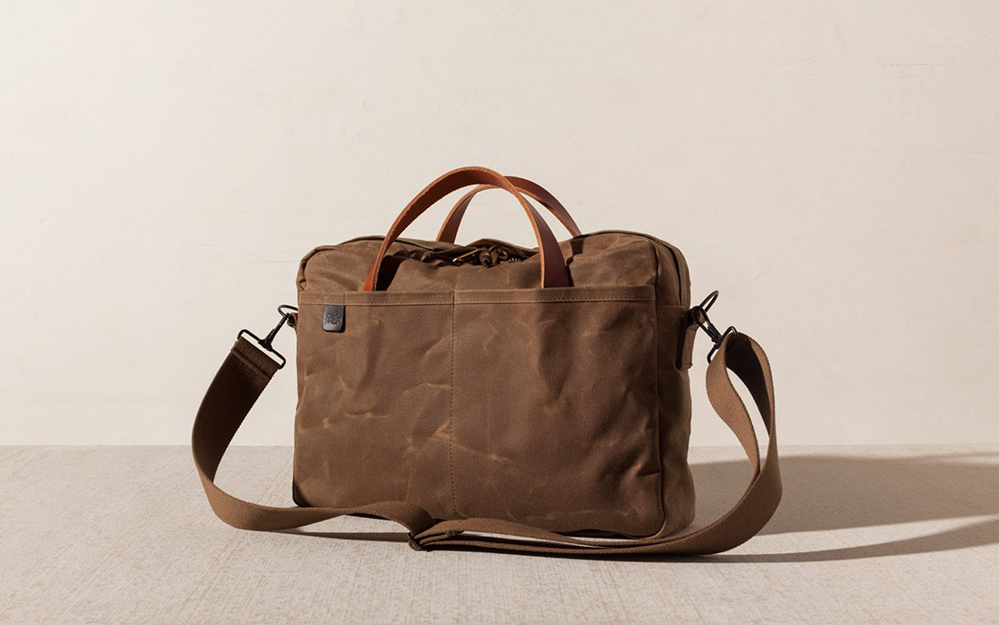 joshu vela tan waxed canvas zip briefacse two canvas leather