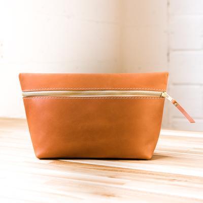 portland leather makeup bag