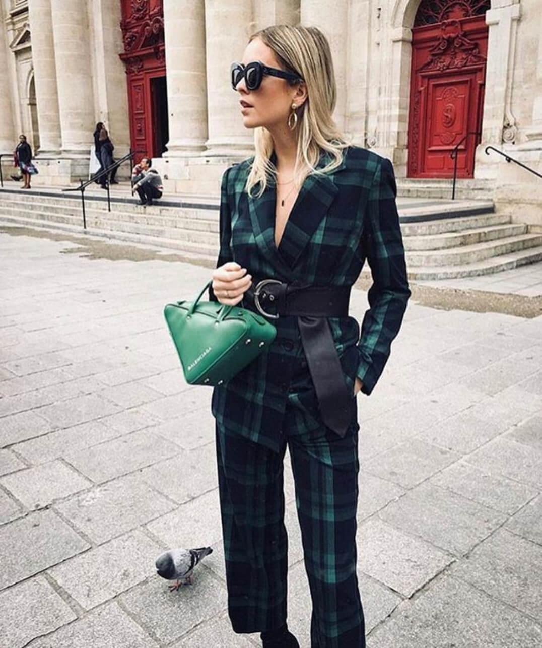 Balenciaga green triangle top handle crossbody bag