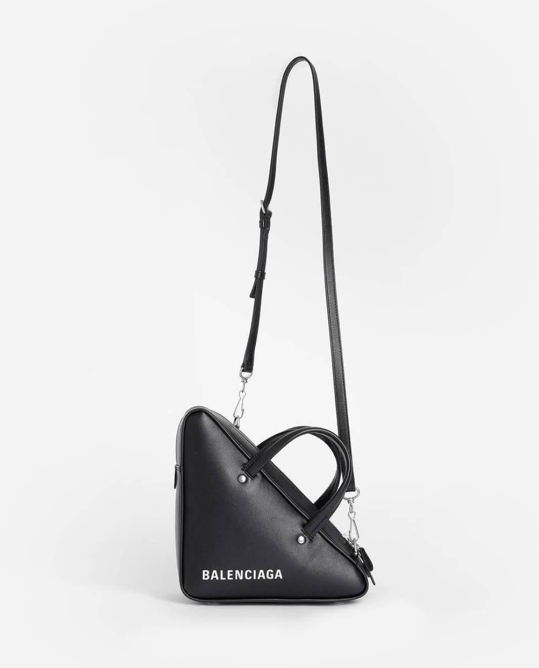 balenciaga triangle bag black shoulder strap view