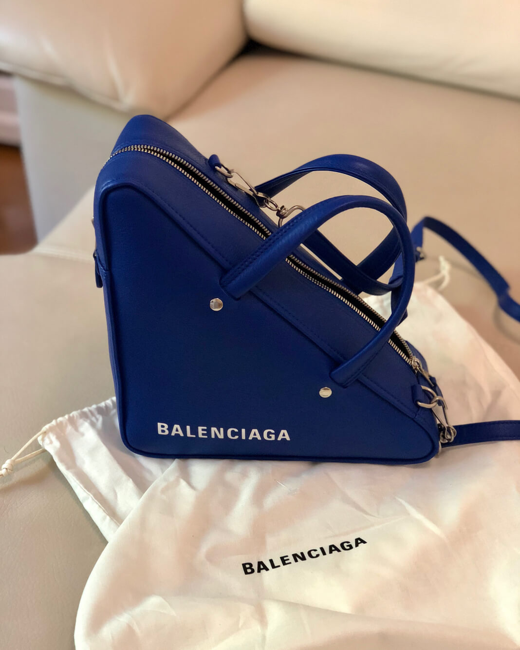 balenciaga triangle bag electric blue