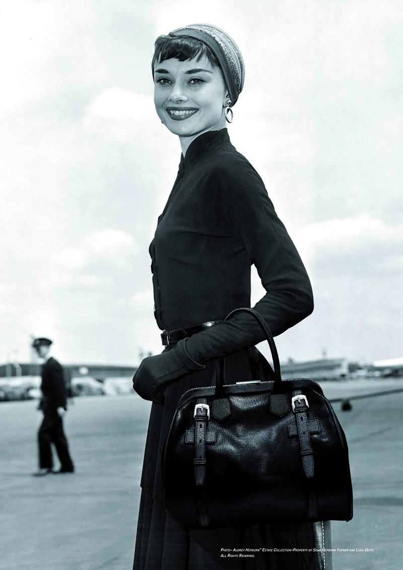 Audrey Hepburn with black Riviera bag