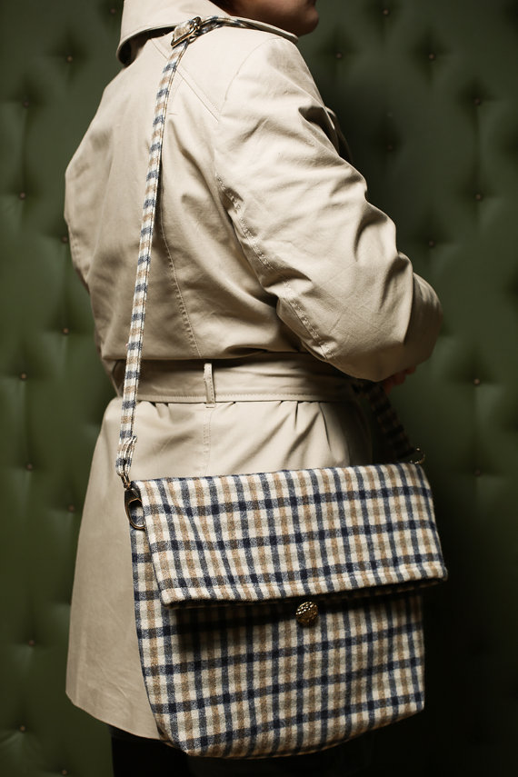 Checkered bag on model