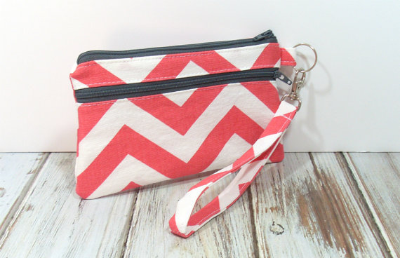 Coral Chevron Wristlet closed