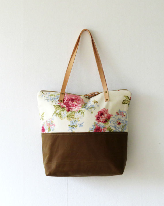 Floral tote hanging