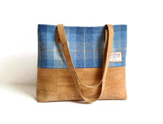 Harris Tweed and Cork Bag 3