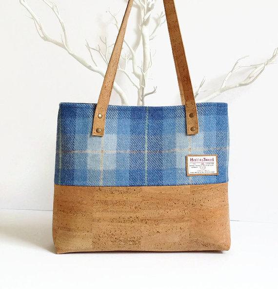 Harris Tweed and Cork Bag