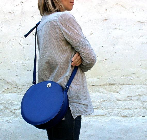 Blue bag worn