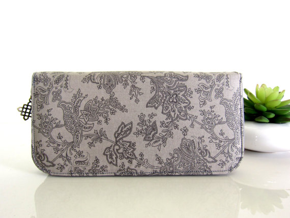 Gray Damask Wallet