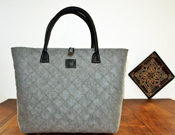 Gray Felt Handbag