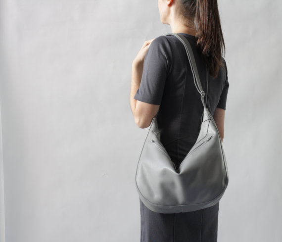 Gray Hobo Bag Worn