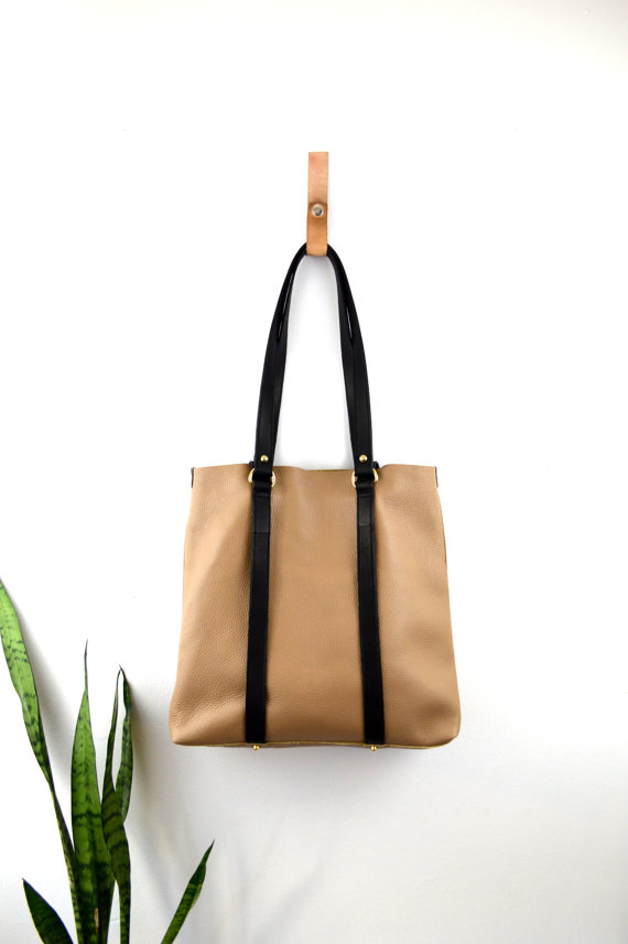 Black and Brown Leather Tote