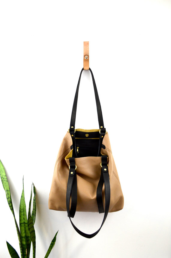 Leather Tote Open