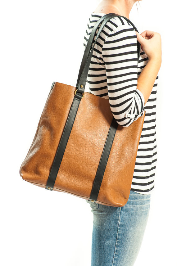 Leather Tote Worn