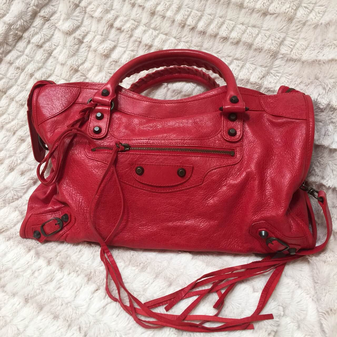 Balenciaga Motorcycle Bag Red