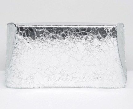 asos metallic geo clutch bag silver