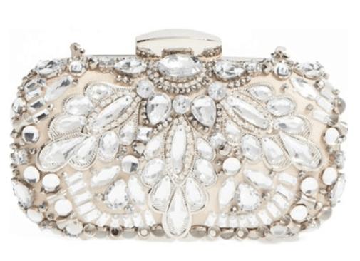 natasha couture crystal embellishment frame clutch