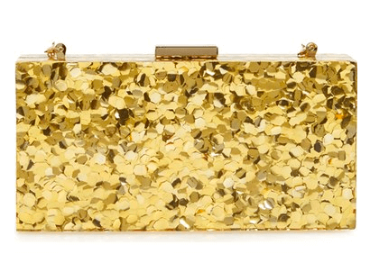 sondra roberts resin box clutch gold