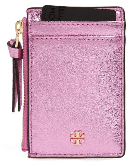 tory burch crinkle metallic leather card case pink
