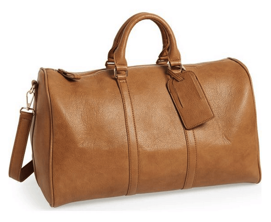 sole society cassidy faux leather duffel bag cognac