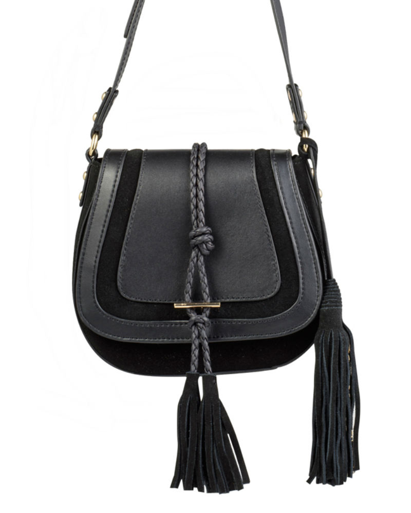 nikki williams black saddle bag close up