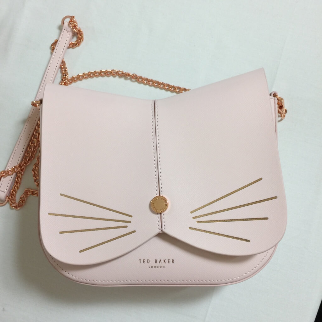 ted baker cat pink leather crossbody front view
