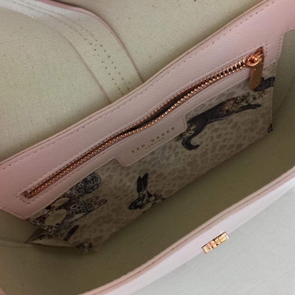ted baker cat pink leather crossbody inside pocket