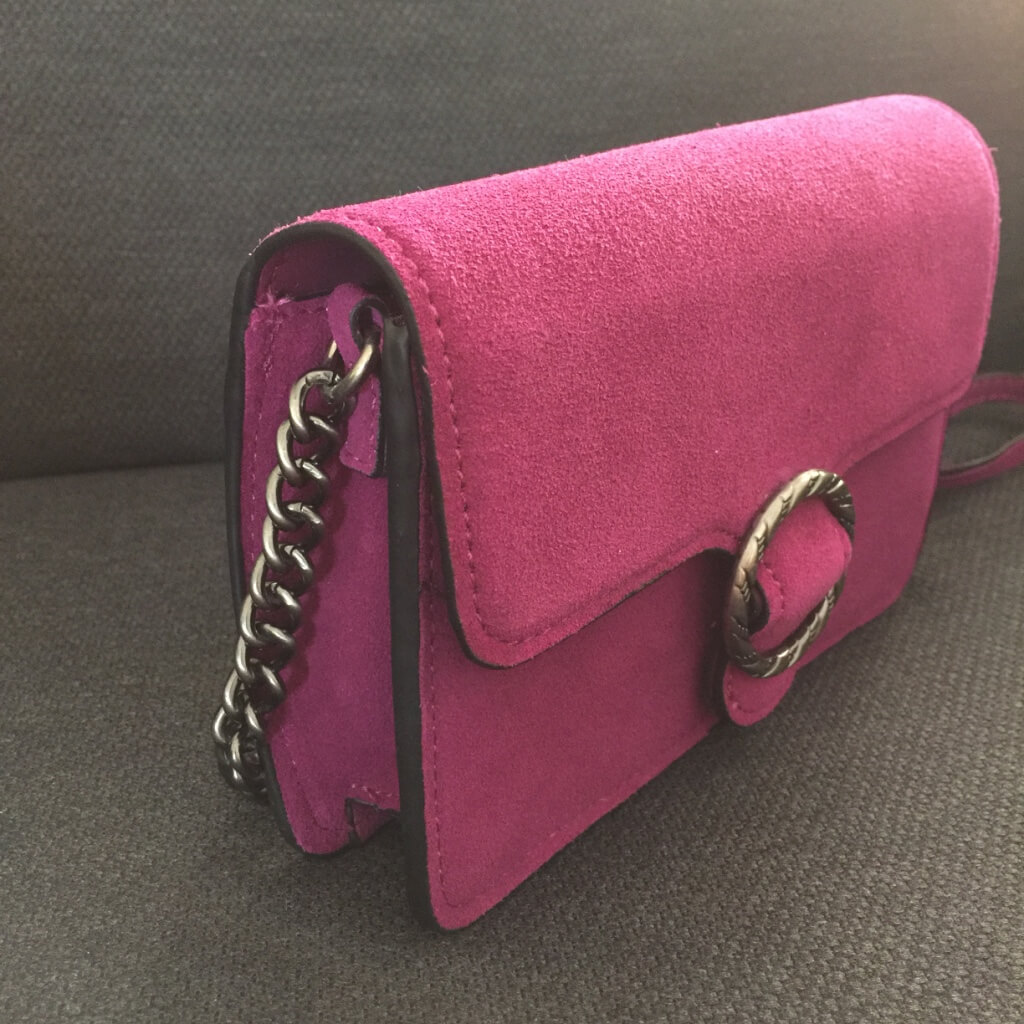 Mango boxy crossbody purple suede handbag side view