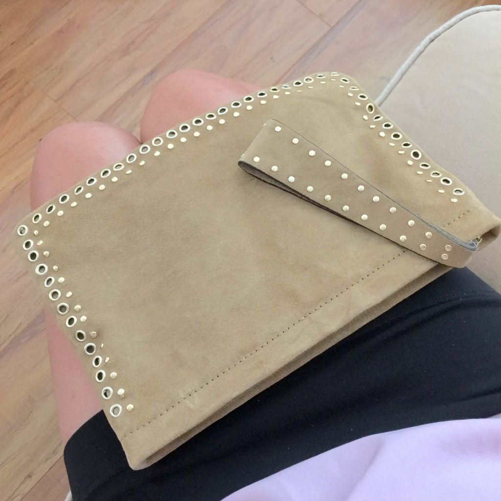 Mango clutch beige leather studs suede