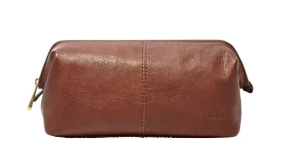Fossil Leather Framed Travel Kit Cognac