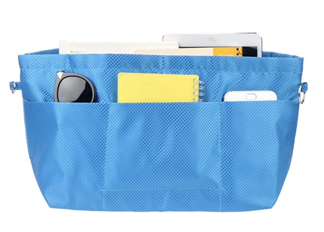 handbag purse organizer in blue