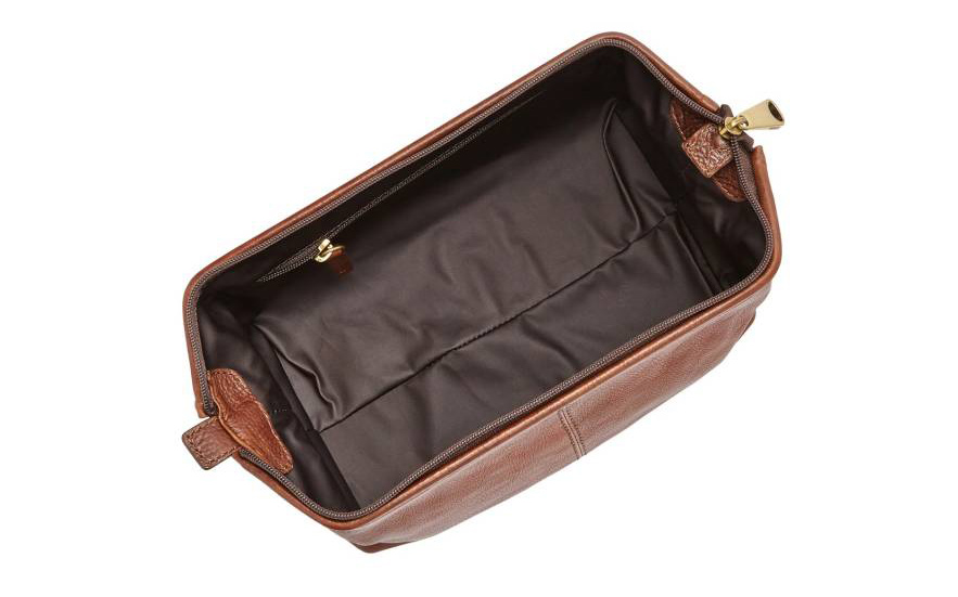 leather framed travel kit opened up view