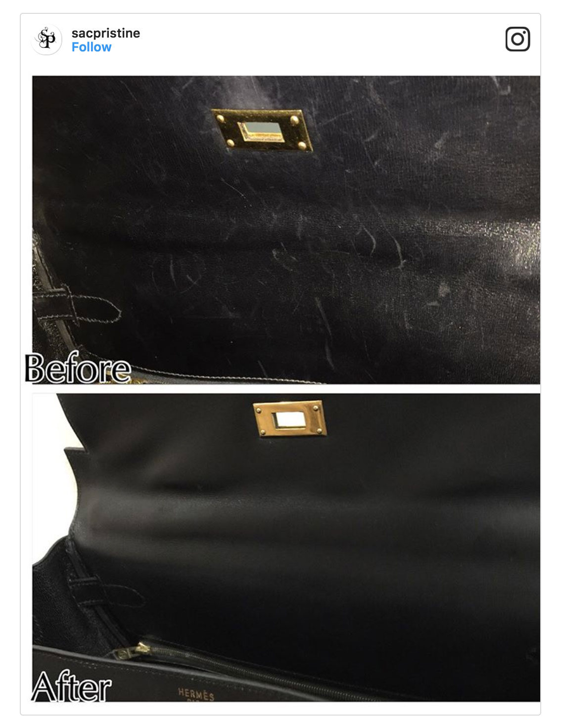 sacpristine before and after handbag repair