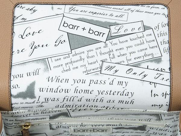 barr barr handbag love letter inside lining