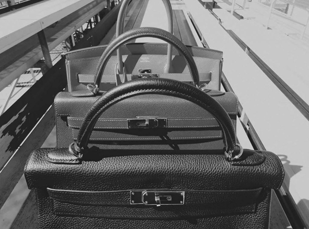 hermes birkin black and white photo