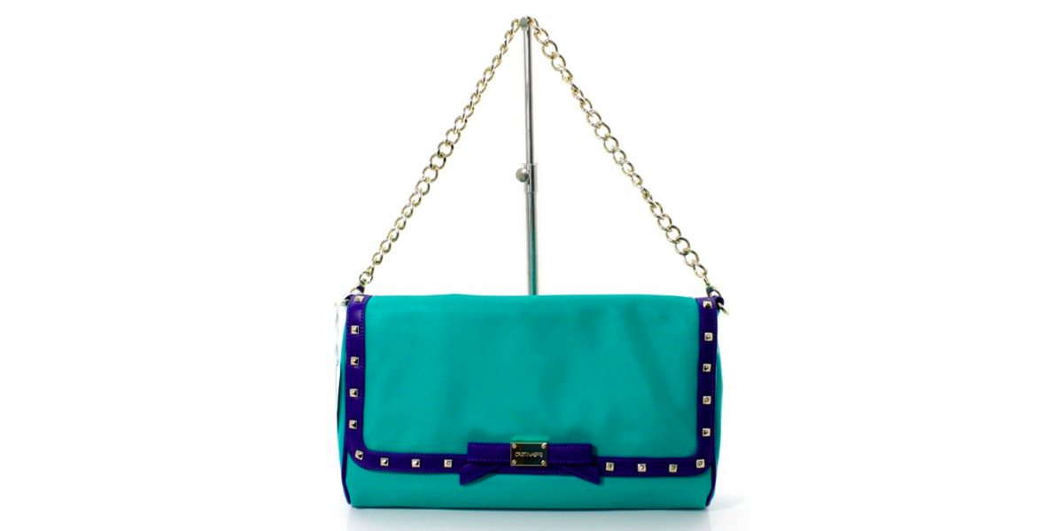 teal pochette with studded detailing