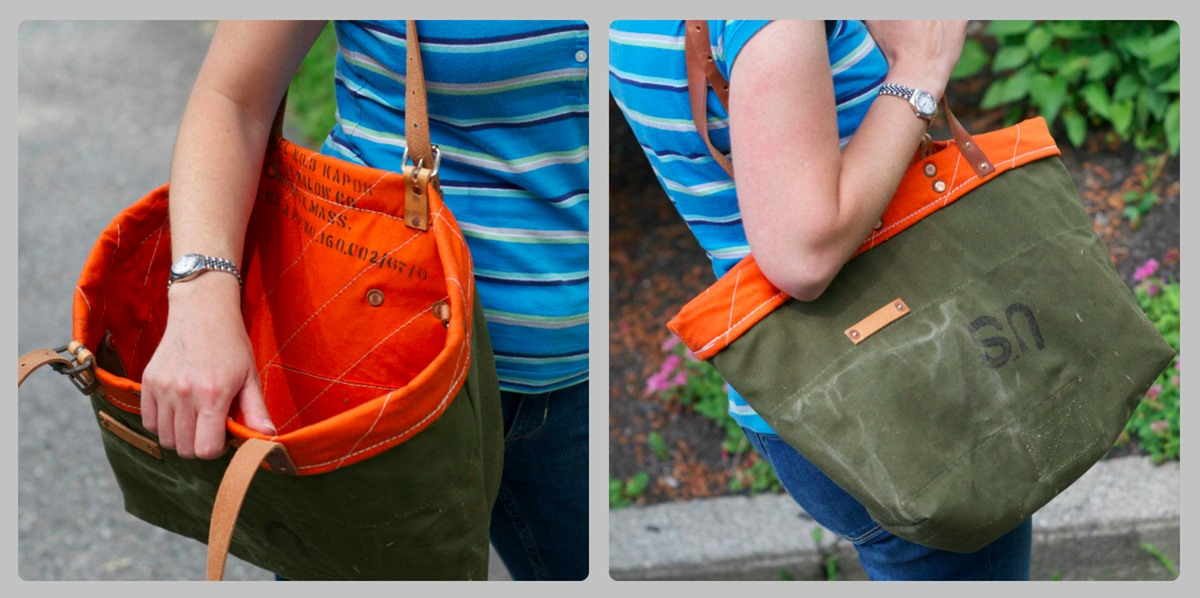 military green open tote