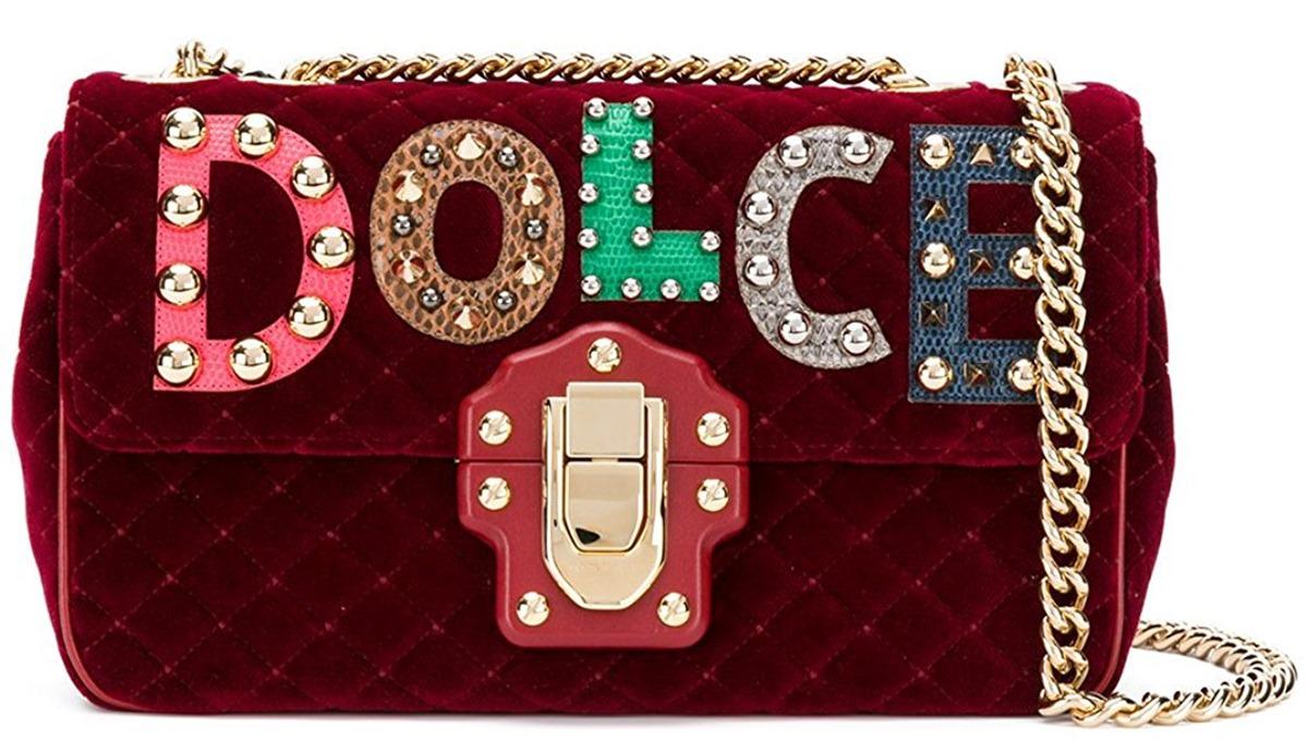 Dolce and Gabbana Red Velvet Embellished Bag