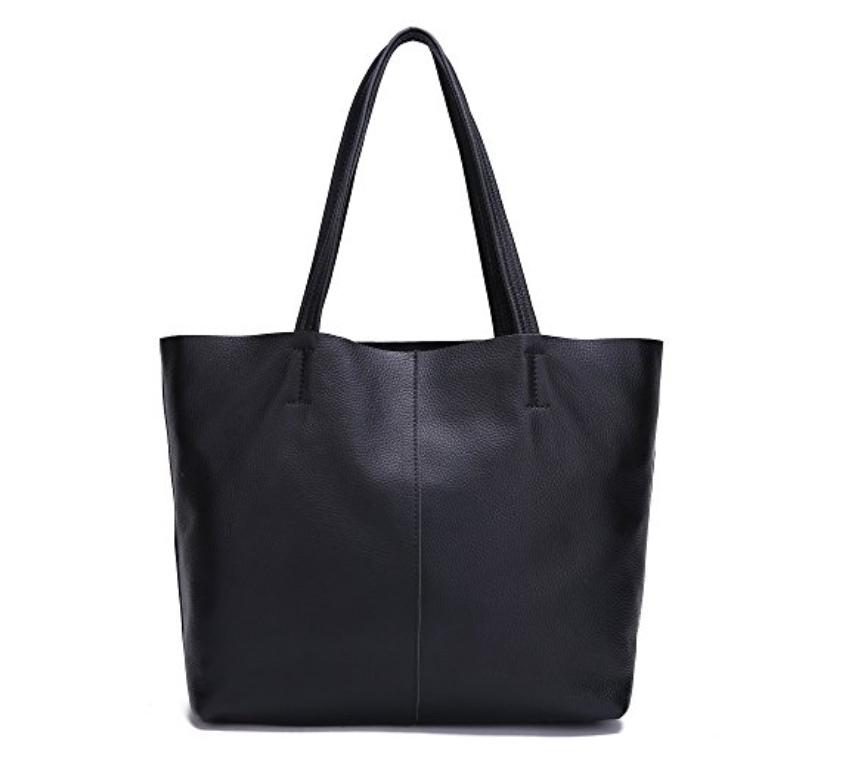 black damero leather shoulder bag