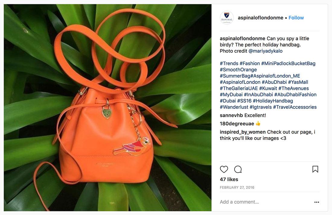 Aspinal of London Mini Padlock Bucket Bag orange