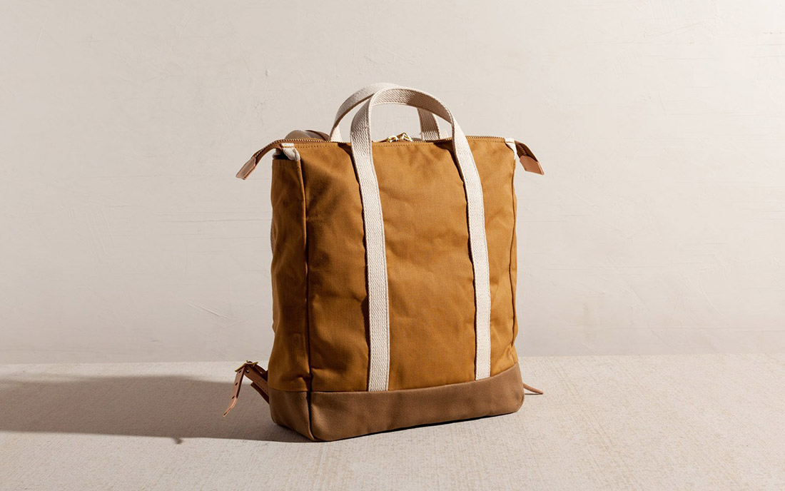 joshu vela tote backpack tan canvas leather made in san francisco usa