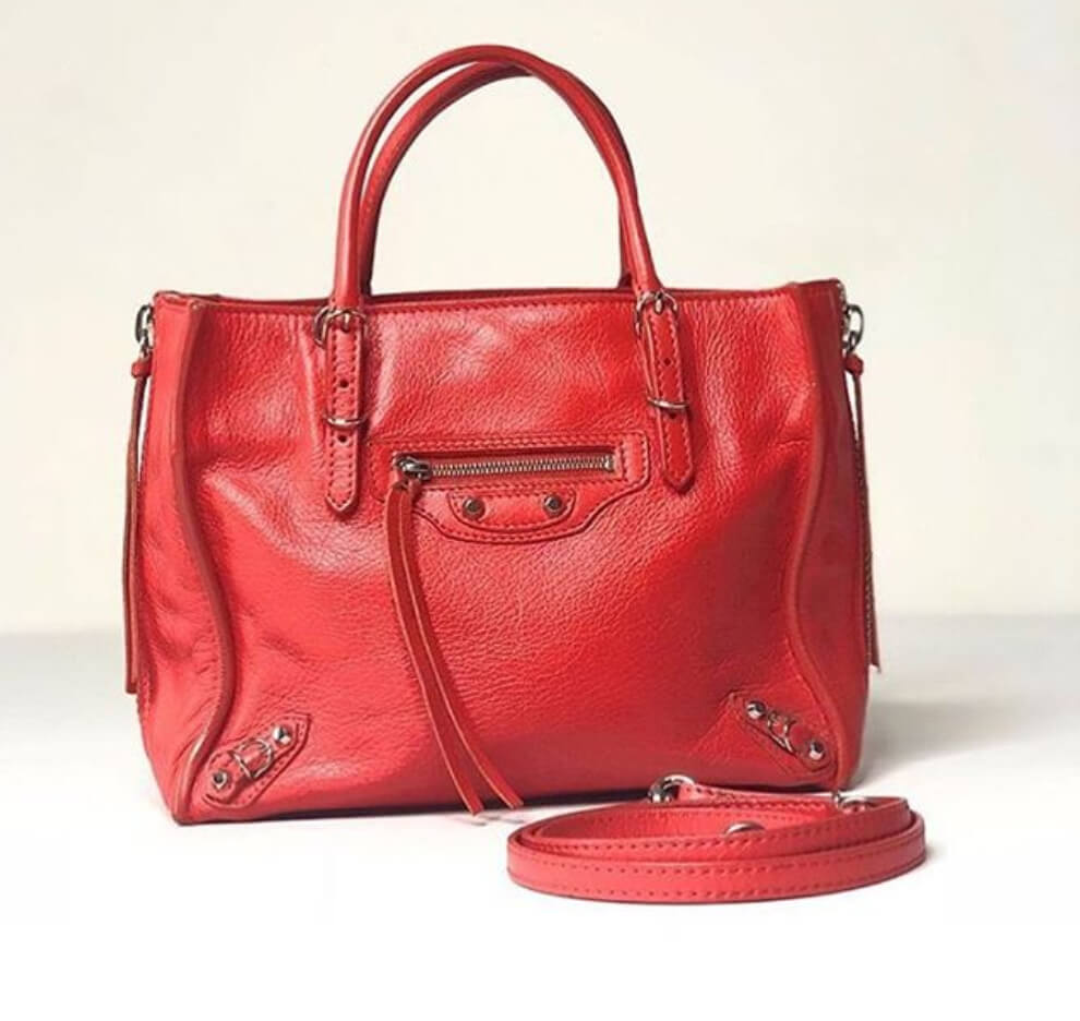 balenciaga-papier-red-leather-handbag