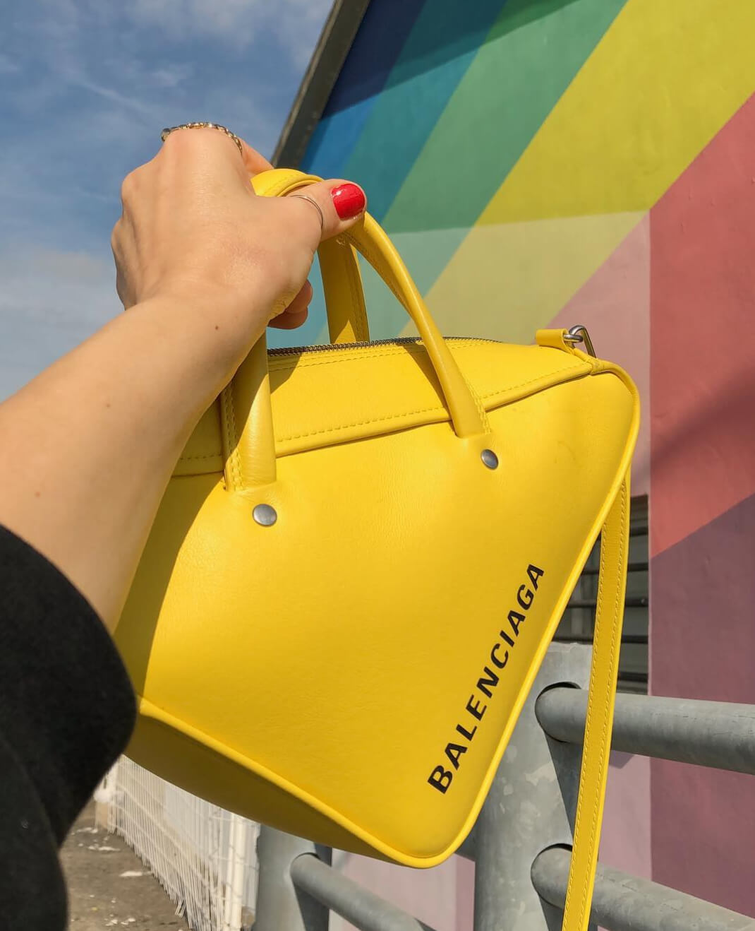 balenciaga triangle bag yellow