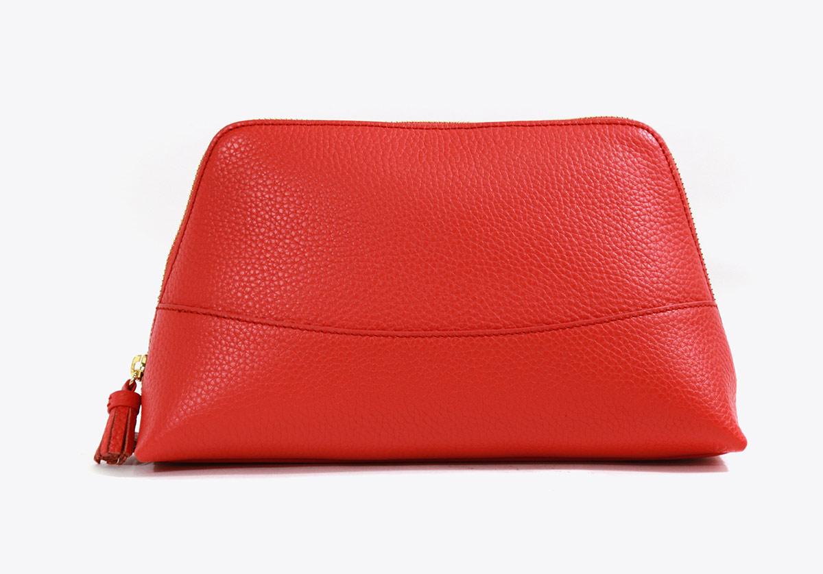 Neely Chloe Handbags Pebble Cosmetic Pouch Scarlet Large Red
