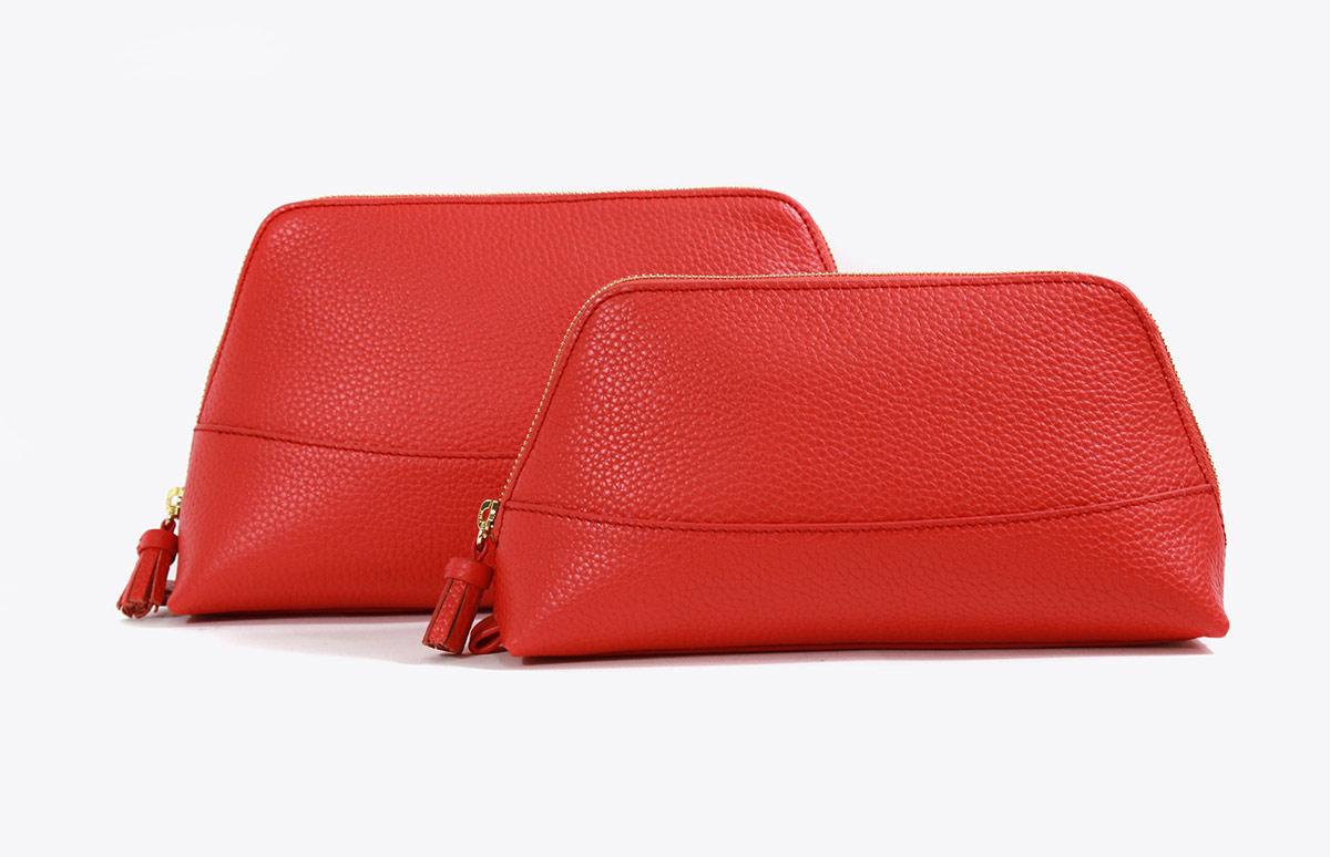 Neely Chloe Handbags Pebble Cosmetic Pouch Scarlet