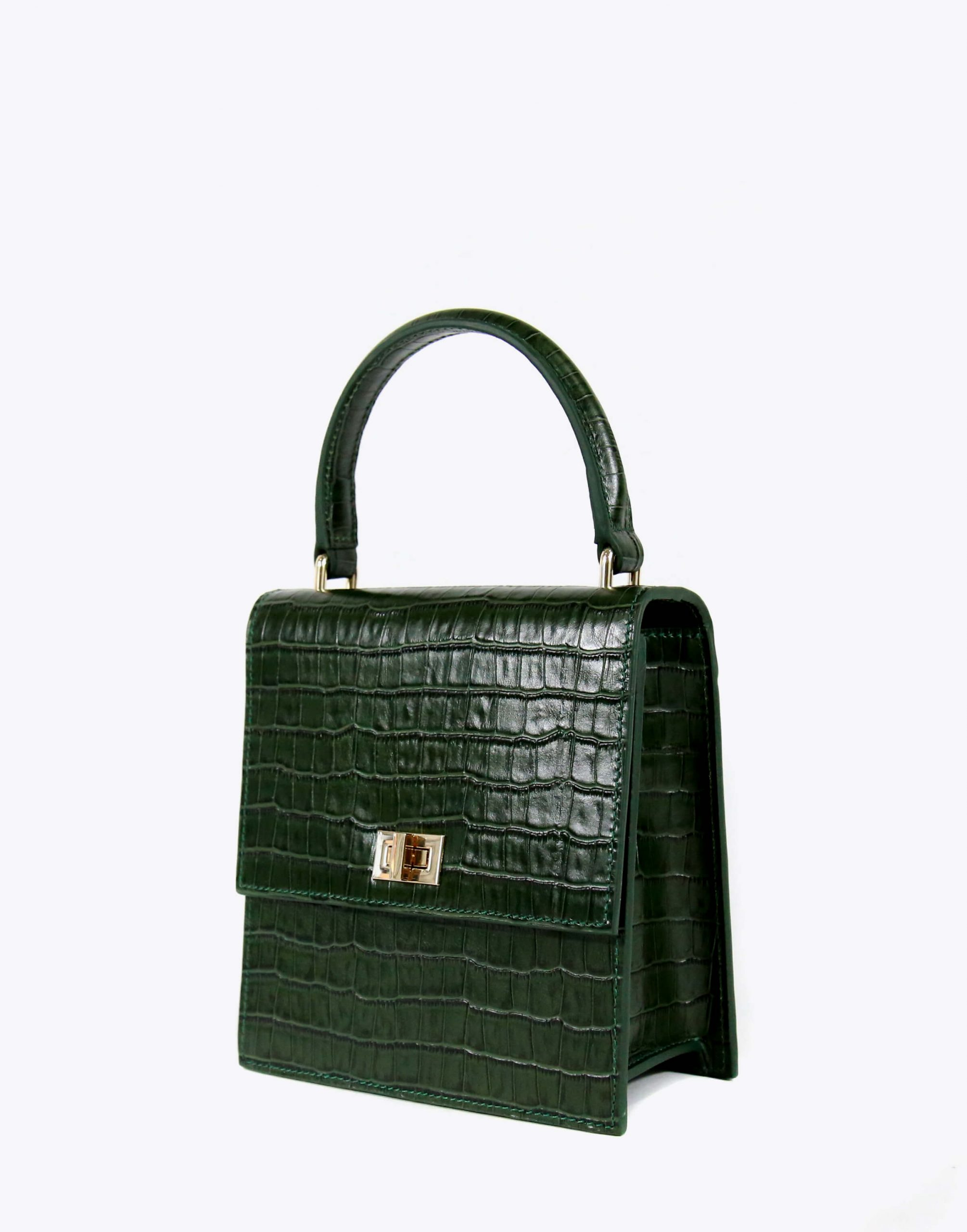 Neely & Chloe No. 19 Mini Lady Bag Croc Angle View Green