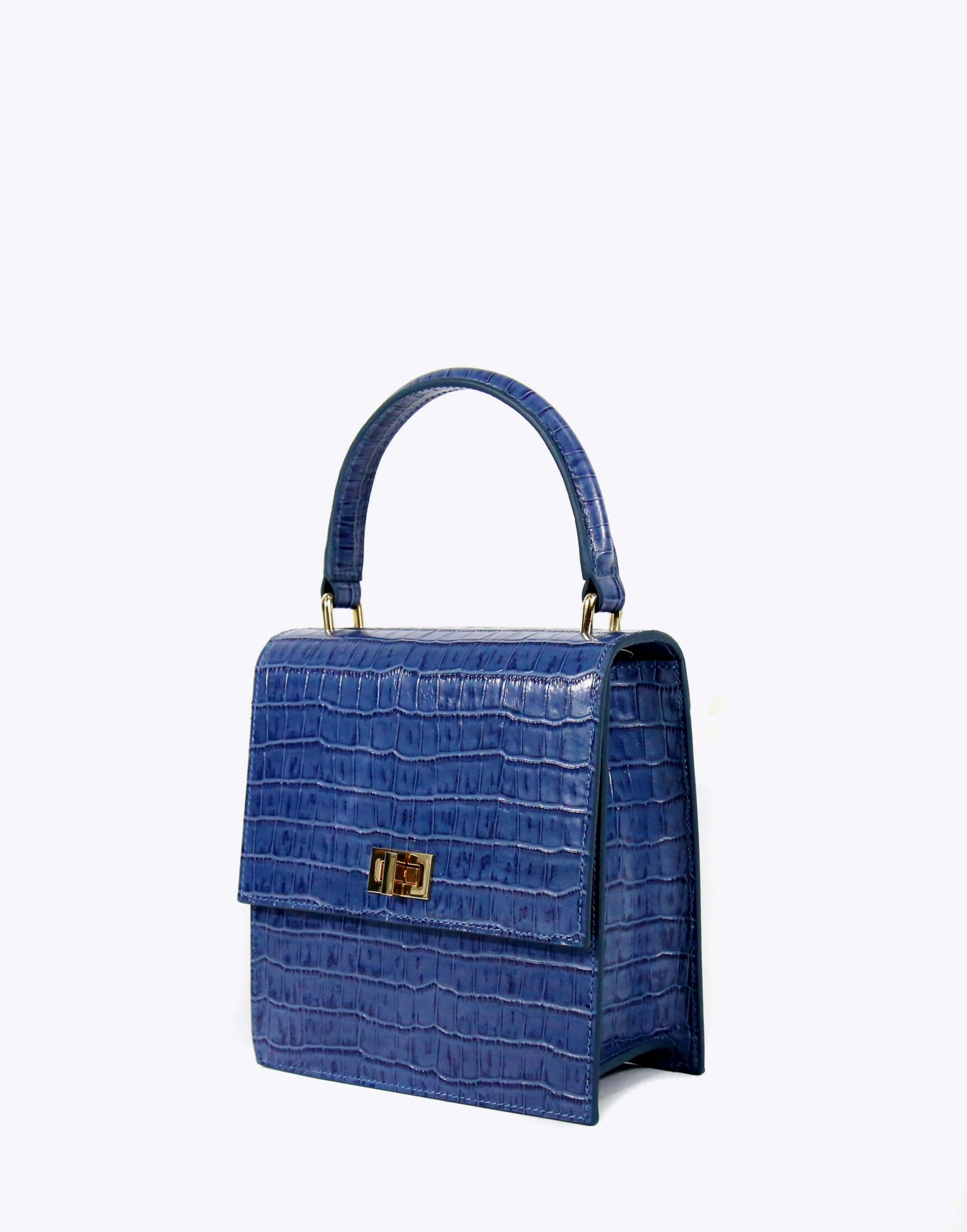 Neely & Chloe No. 19 Mini Lady Bag Croc Angle View Moonlight Blue